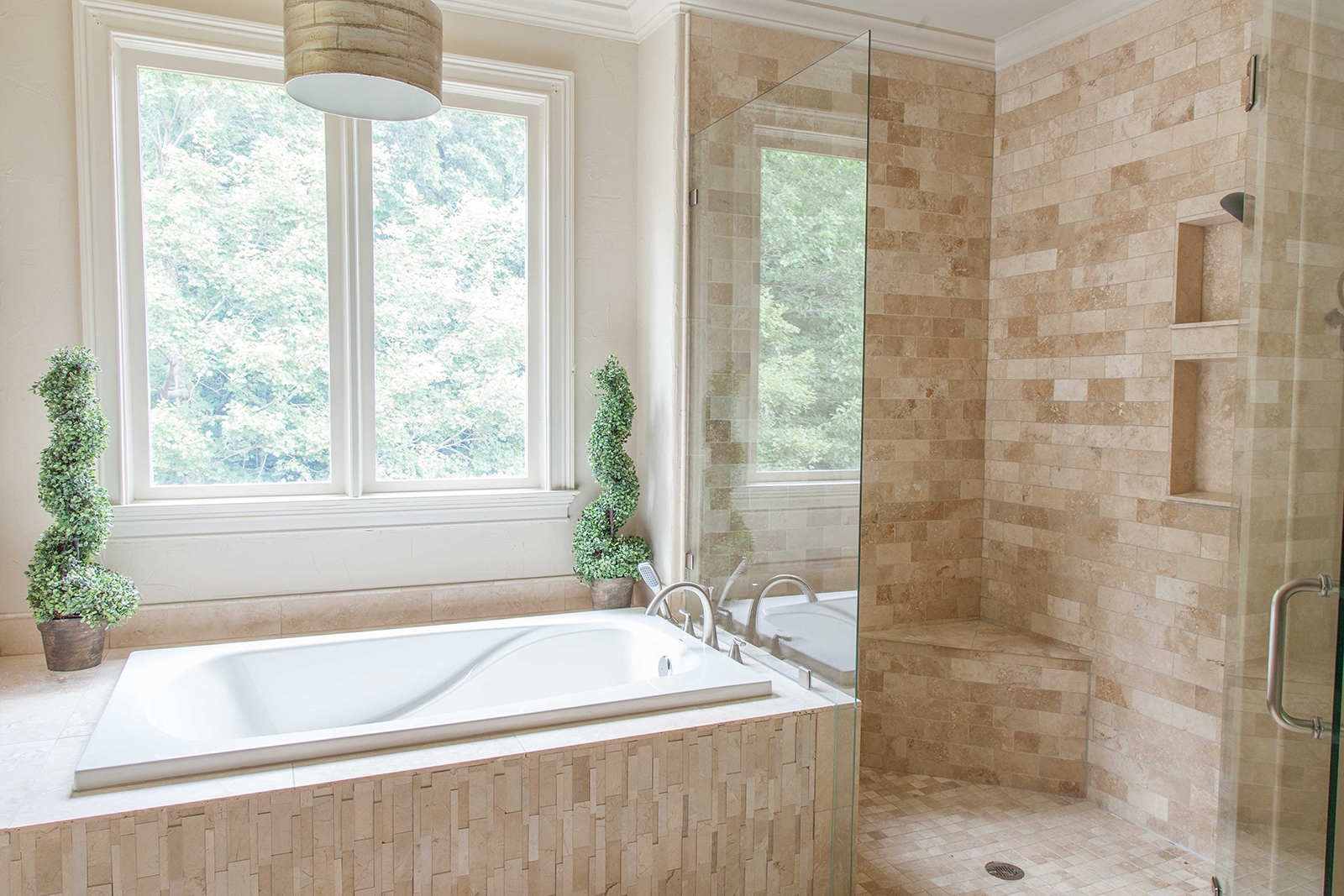 Elegant Natural Stone Bathroom Remodel