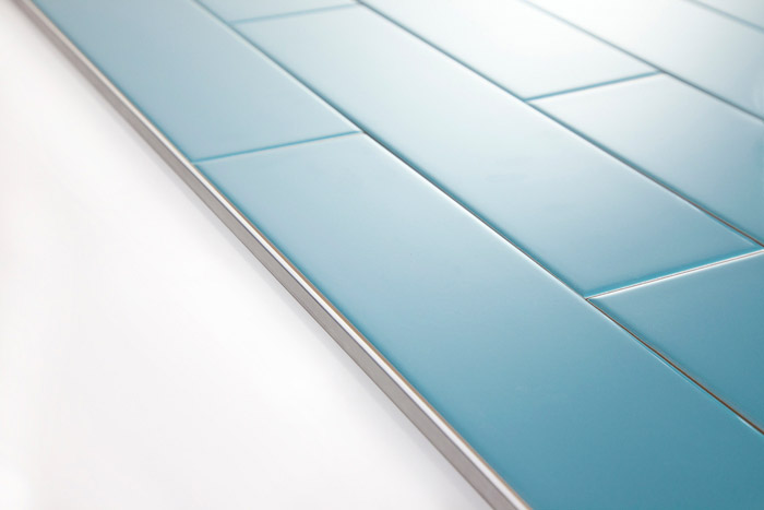 5th Avenue Turquoise Subway Tile With Schluter Jolly Profile Trim